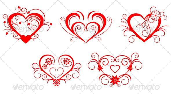 Red valentine hearts - Decorative Vectors