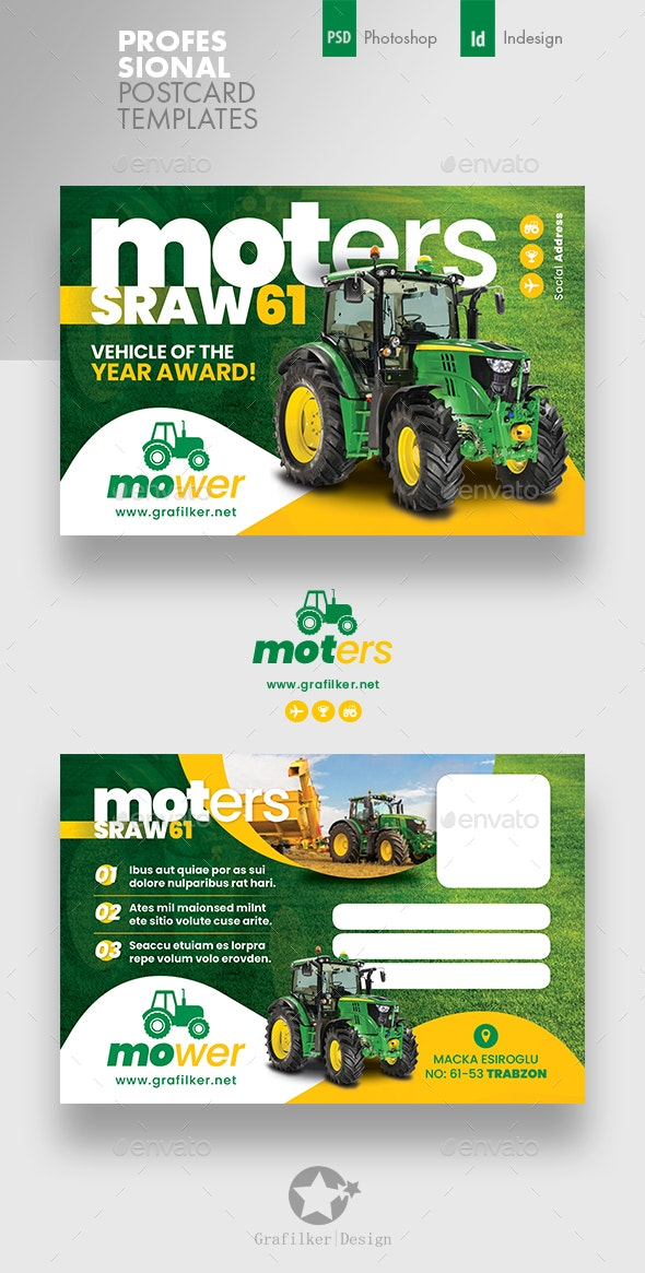Vehichle Mower Postcard Templates - Cards & Invites Print Templates