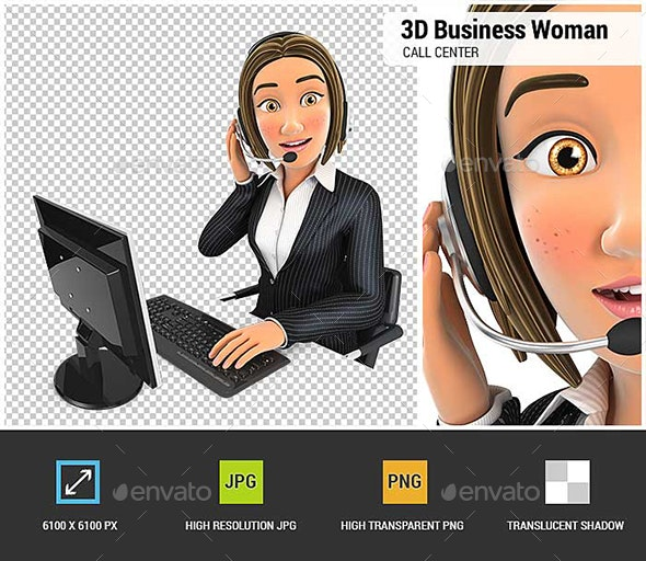 3D Business Woman Call Center - Characters 3D Renders