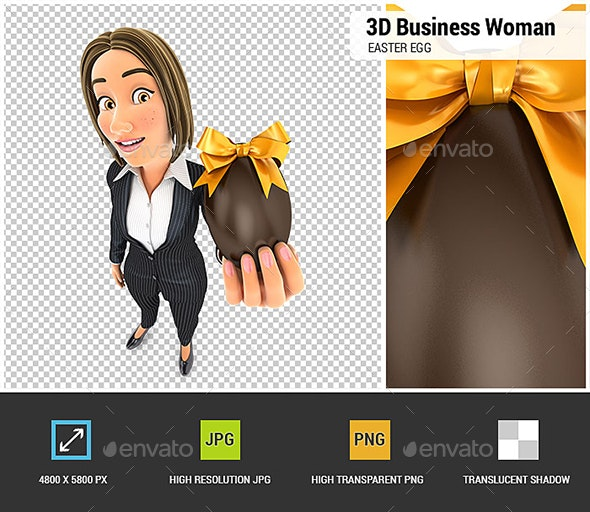 3D Business Woman Holding Easter Egg - Characters 3D Renders
