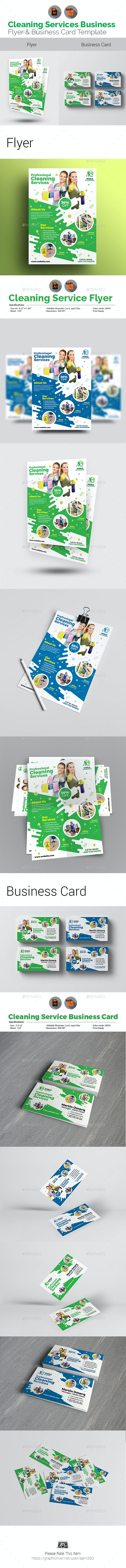 Cleaning Flyer with Business Card Bundle - Flyers Print Templates