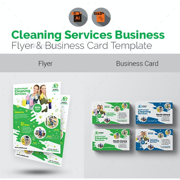 Cleaning Flyer with Business Card Bundle