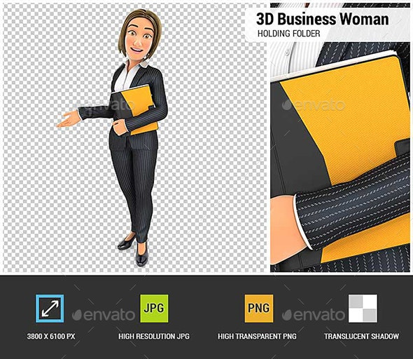 3D Business Woman Holding Folder and Showing White Copy Space - Characters 3D Renders