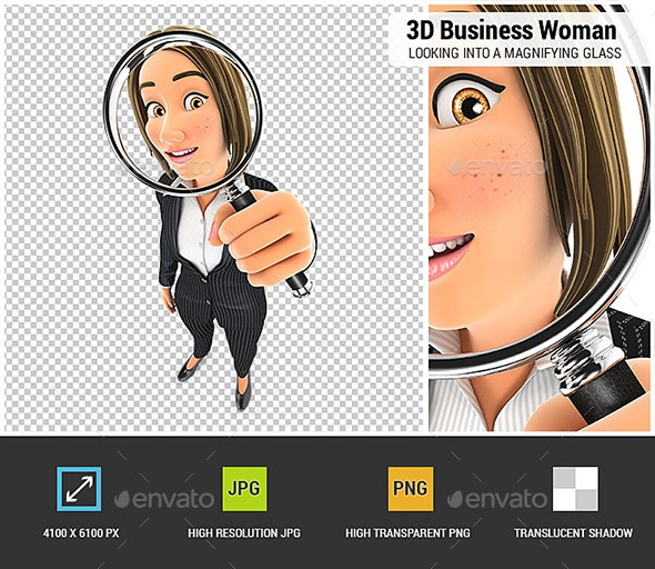 3D Business Woman Looking into a Magnifying Glass - Characters 3D Renders