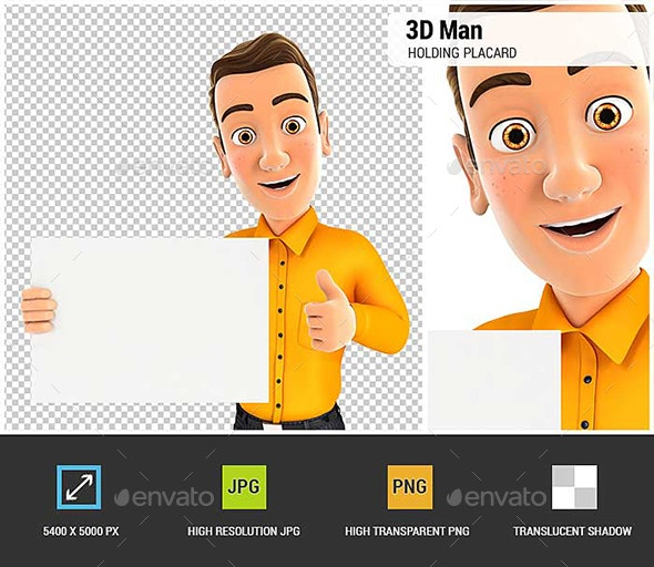 3D Man Holding Placard with Thumb Up - Characters 3D Renders
