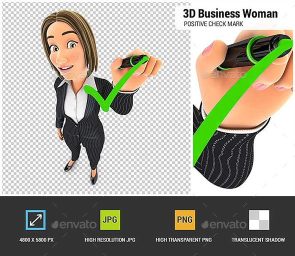 3D Business Woman Drawing Positive Check Mark - Characters 3D Renders