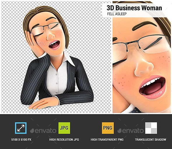 3D Business Woman Fell Asleep Leaning on her Hand - Characters 3D Renders