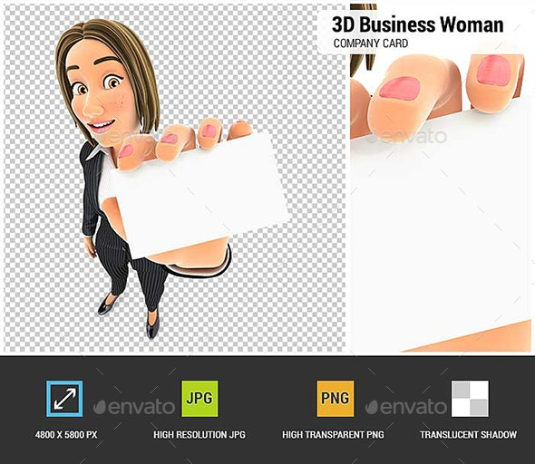 3D Business Woman Holding Company Card - Characters 3D Renders