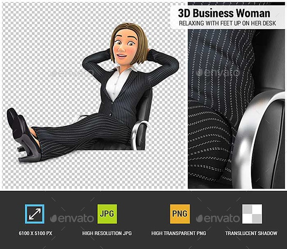 3D Business Woman Relaxing with Feet Up on her Desk - Characters 3D Renders