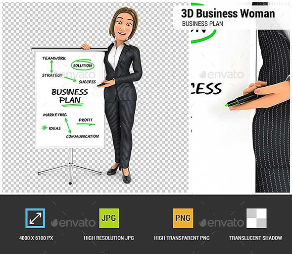 3D Business Woman Writing Business Plan on Paperboard - Characters 3D Renders