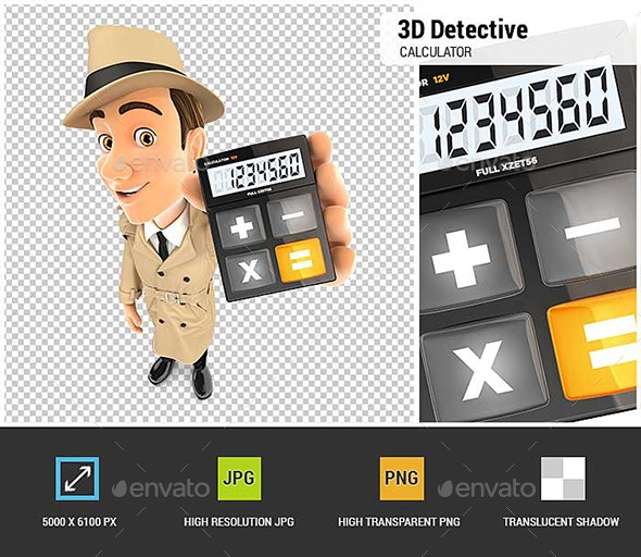 3D Detective Holding Calculator - Characters 3D Renders