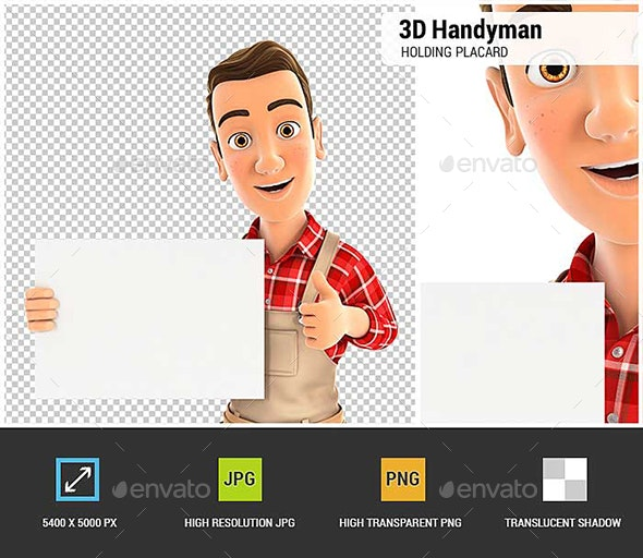 3D Handyman Holding Placard with Thumb Up - Characters 3D Renders