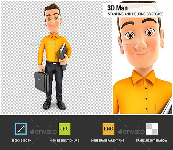 3D Man Standing and Holding Briefcase - Characters 3D Renders