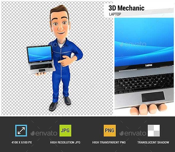 3D Mechanic Laptop - Characters 3D Renders