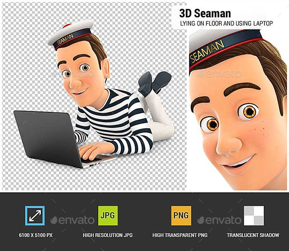 3D Seaman Lying on the Floor and Using Laptop - Characters 3D Renders