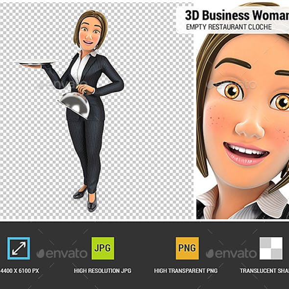 3D Business Woman Holding Empty Restaurant Cloche