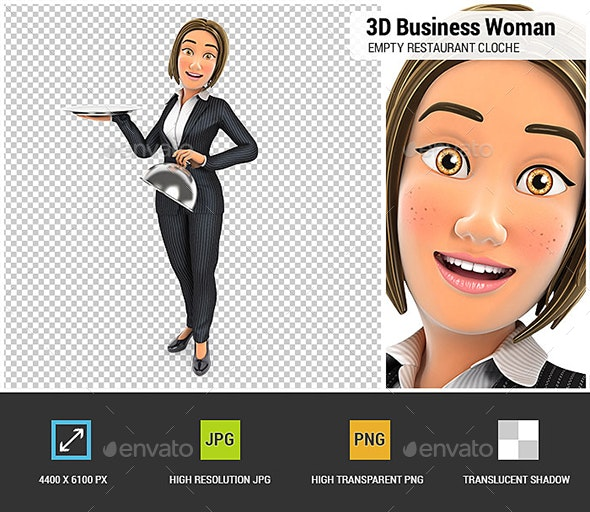 3D Business Woman Holding Empty Restaurant Cloche - Characters 3D Renders