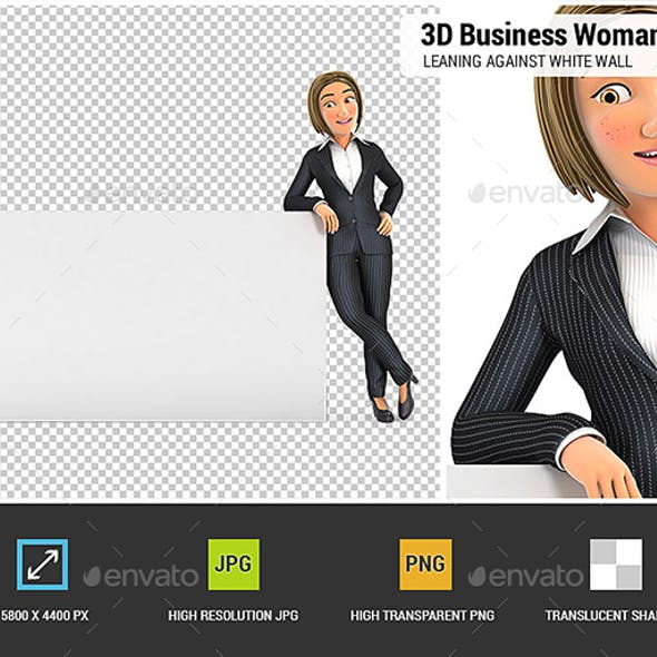 3D Business Woman Leaning Against White Wall
