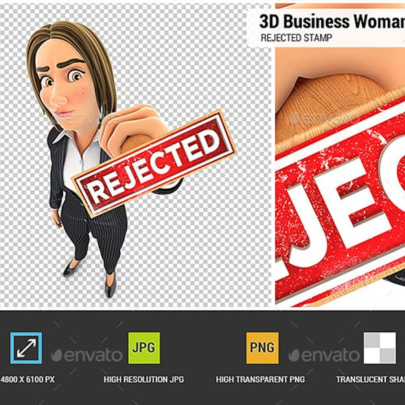 3D Business Woman Rejected Stamp