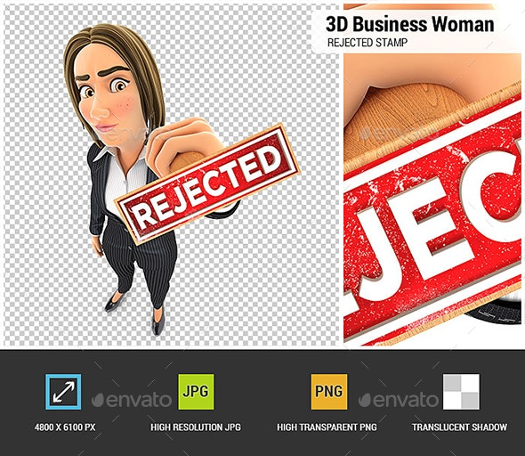 3D Business Woman Rejected Stamp - Characters 3D Renders