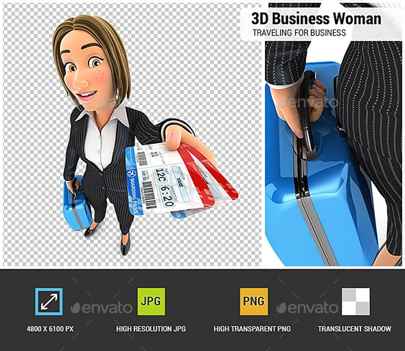 3D Business Woman Traveling for Business - Characters 3D Renders