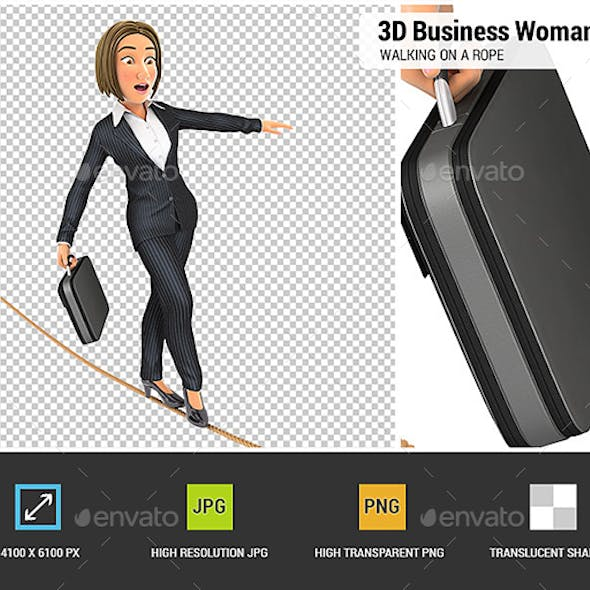 3D Business Woman Walking on a Rope