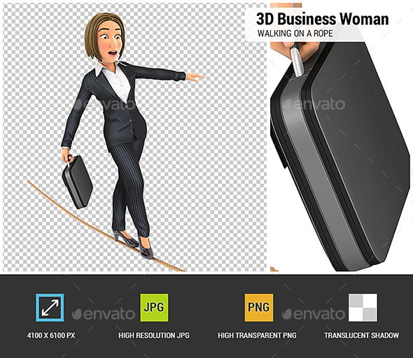 3D Business Woman Walking on a Rope - Characters 3D Renders
