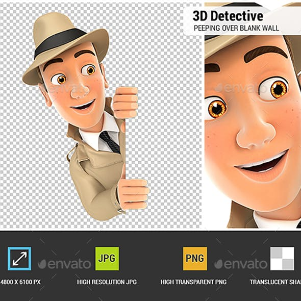 3D Detective Peeping Over Blank Wall