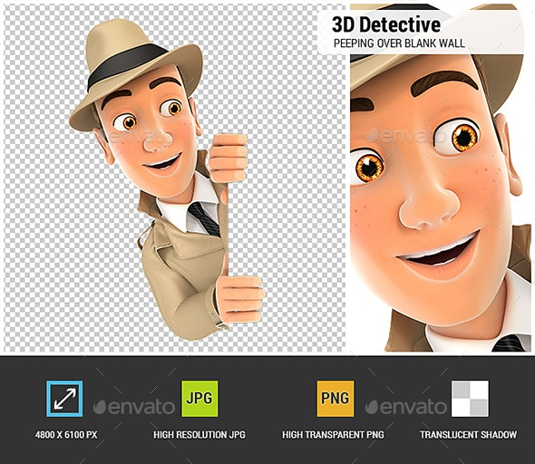 3D Detective Peeping Over Blank Wall - Characters 3D Renders