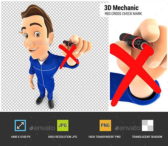 3D Mechanic Drawing Red Cross Check Mark - Characters 3D Renders
