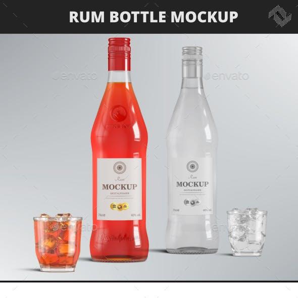 Vodka Rum Brandy Bottle Mockup