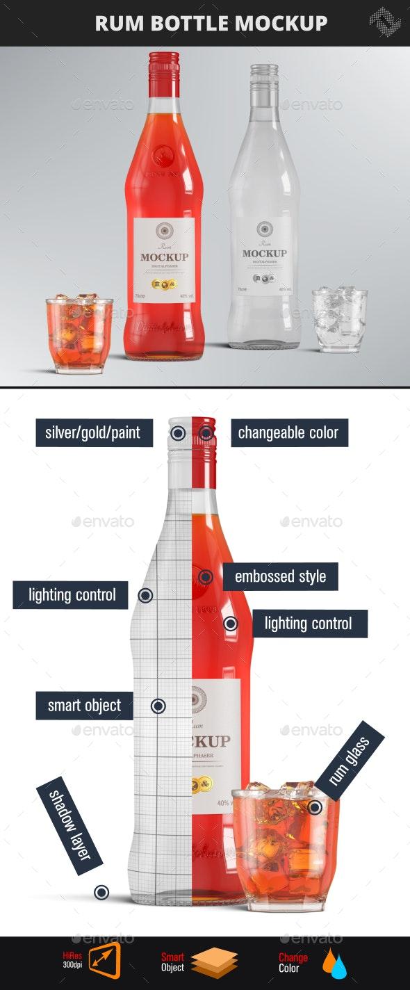 Vodka Rum Brandy Bottle Mockup - Food and Drink Packaging