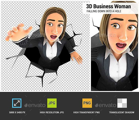 3D Business Woman Falling Down into a Hole - Characters 3D Renders