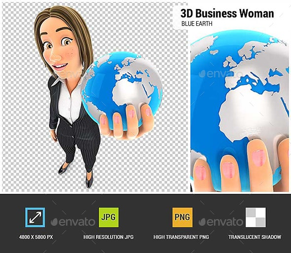 3D Business Woman Holding Blue Earth - Characters 3D Renders