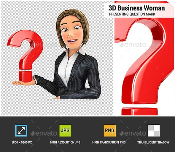 3D Business Woman Presenting Question Mark - Characters 3D Renders
