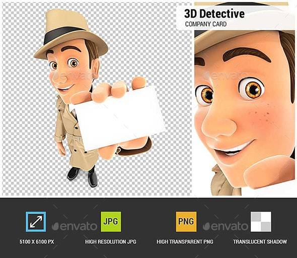 3D Detective Holding Company Card - Characters 3D Renders
