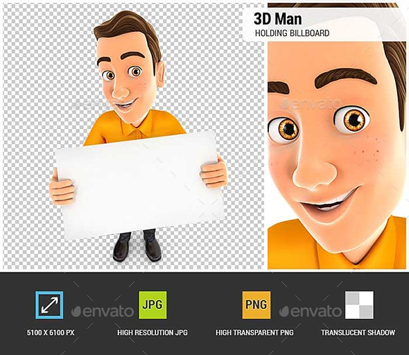 3D Man Holding a Billboard - Characters 3D Renders