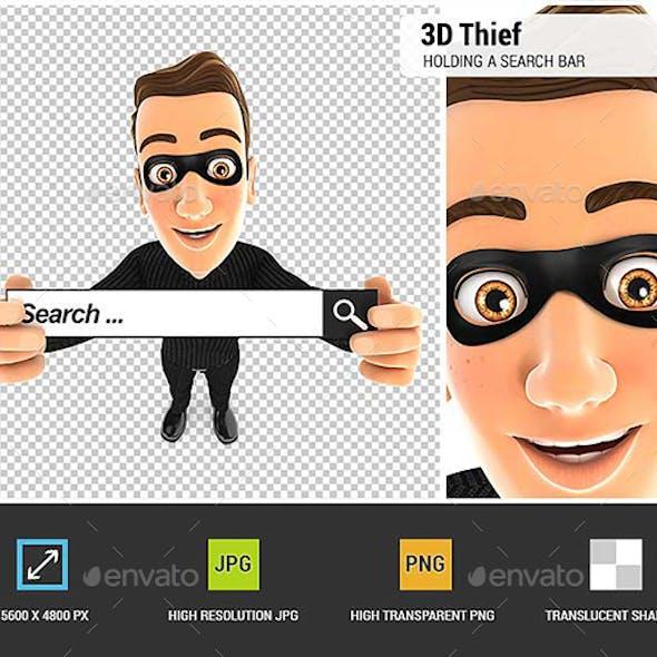 3D Thief Holding a Search Bar