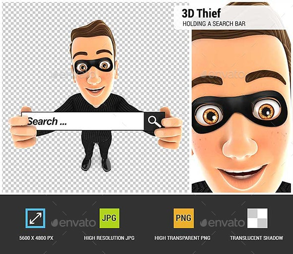 3D Thief Holding a Search Bar - Characters 3D Renders