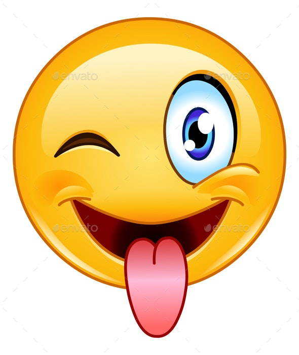 Stuck Out Tongue and Winking Eye Emoticon - People Characters