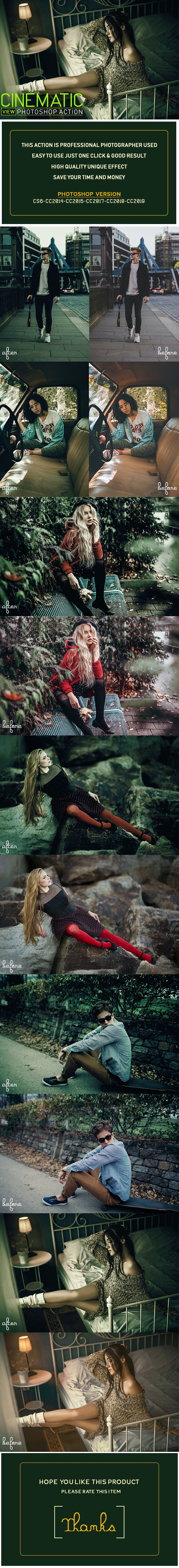 Cinematic View Photoshop Action - Photo Effects Actions