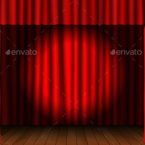 Red Open Curtain with Spotlight