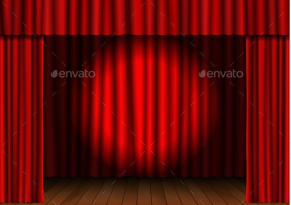 Red Open Curtain with Spotlight - Backgrounds Decorative