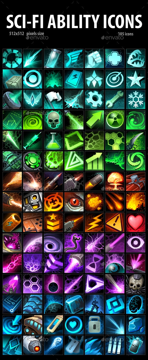 Sci-Fi Ability Icons - Miscellaneous Game Assets