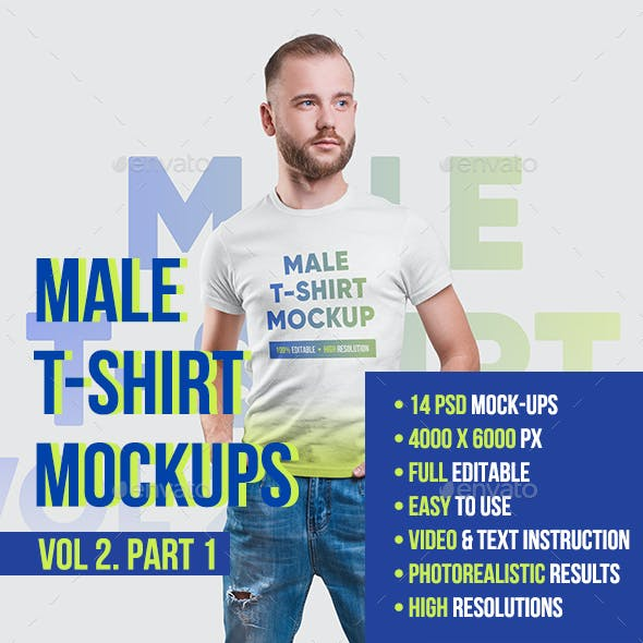 Male T-Shirt Mockups. Vol 2. Part 1