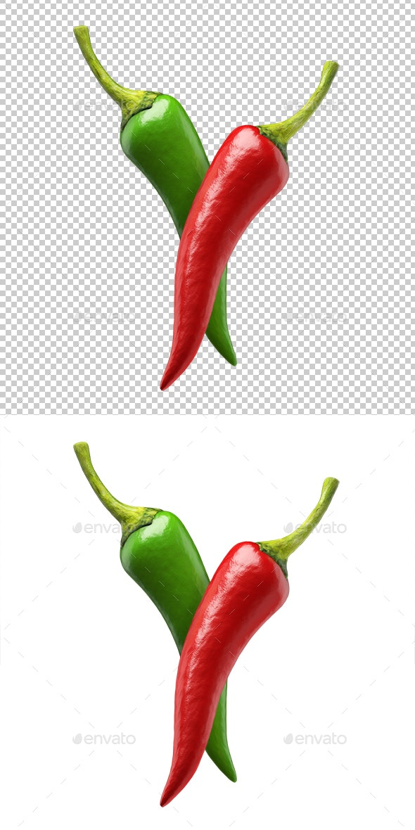 Chilli Peppers Red And Green - Objects 3D Renders