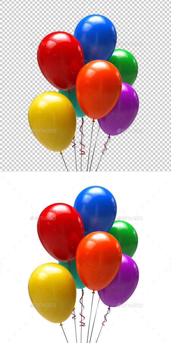 Color Balloons - Objects 3D Renders