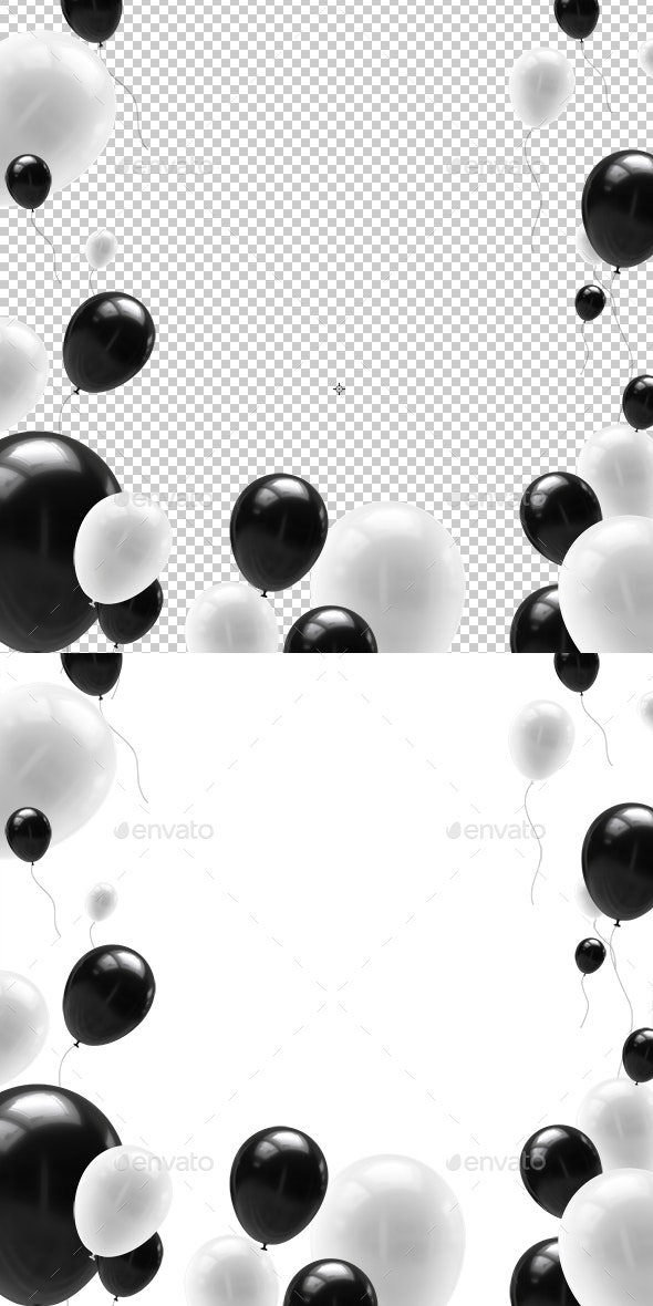 Black And White Balloons With Ribbons - Objects 3D Renders