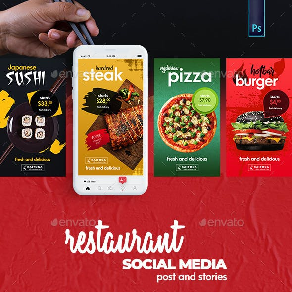 Restaurant Banner - Social Media Post and Stories