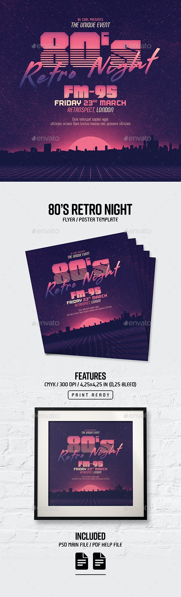 80's Retro Night Flyer/Poster - Clubs & Parties Events